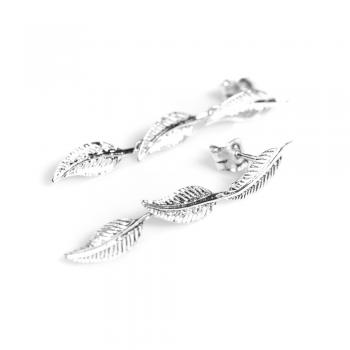 Bijou femme boucles d'oreilles  3 plumes