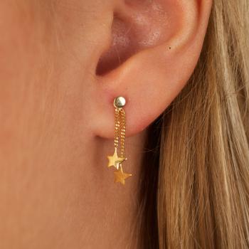 Bijou femme boucles d'oreille 2 étoiles asymétriques