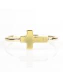 Bijou femme, bague croix, or jaune et blanc 9 carats