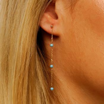 Bijou femme boucles d'oreilles 6 turquoises en Or jaune ou Or blanc