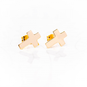 Bijou femme boucles d'oreille croix plate