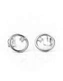 Boucles d'oreilles cercle fil rond  serti d'un diamant