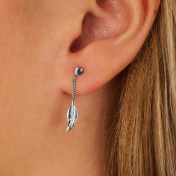 Bijou femme boucles d'oreilles 1 plume pendante
